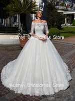 wuzhiyi Boat Neck Wedding Gown A-line Custom made vestido de noiva half sleeves robe de mariee Chapel Train vestidos de novia