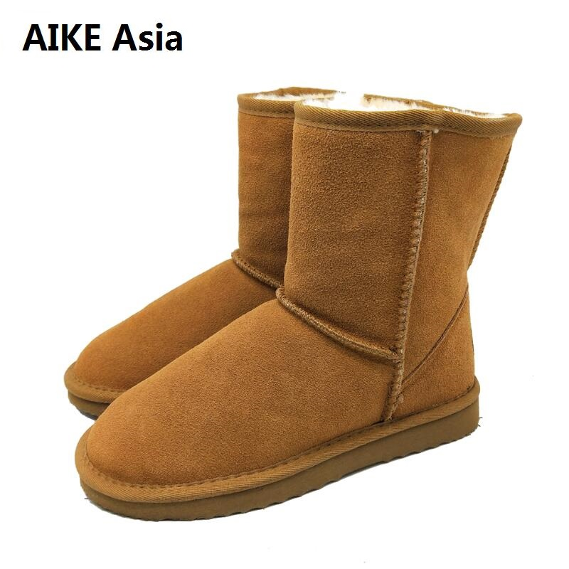High Quality 100% Genuine Cowhide Leather boots botas mujer Australia Classic snow boots Women Boots Warm winter shoes for women zapatillas de moda 2019 hombre