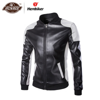 Herobiker Classical Motorcycle Jacket Men Vintage Retro Casual PU Leather Jacket Punk Windproof Biker Motorcycle Moto Jacket