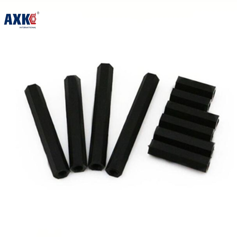 Axk 100pcs/lot <font><b>M3</b></font>*12 <font><b>M3</b></font> <font><b>X</b></font> 12 Female To Female Double Pass Thread Black Nylon Plastic Standoff Spacer image