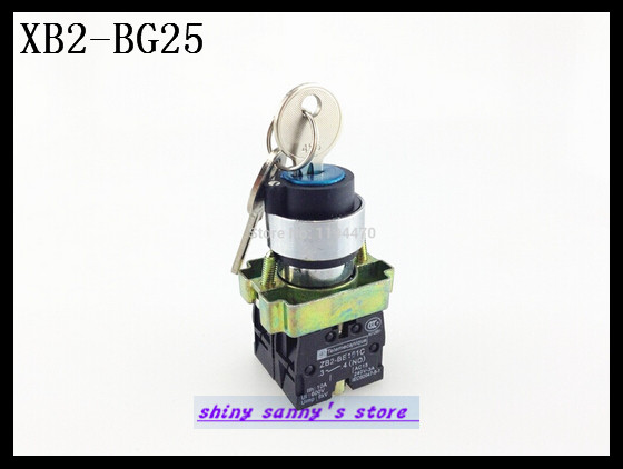 10Pcs/Lot XB2-BG25 2 Position 1 NO 1 NC N/O N/C Locked Maintained Key Operated Selector Switch