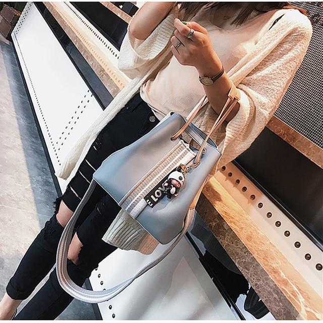 Burminsa Cute Bucket Shoulder Bag Small Wide Guitar Strap Girl Designer Handbag High Quality PU Leather Women Messenger Bag 2019 2