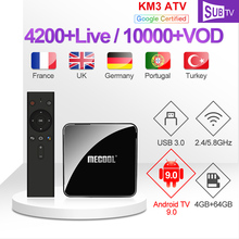 IPTV Italy KM3 ATV Box Subscription SUBTV Arabic Canada Code 4K FULL HD TV Android Portuguese France Polish IP