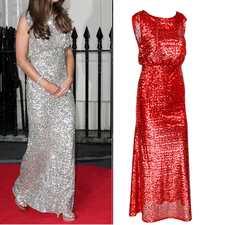 Sexy sequin dress silver red wedding evening party runway for Silver and red wedding dresses