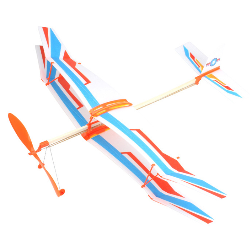 Toys For Children Rubber Band Powered Glider Plane Airplane Model DIY Assembly Airplane For Kid Gift