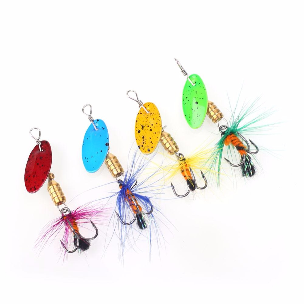 relefree 4PCS/ Lot Long Casting Spinner Bait Metal Fishing Lure Tail Propeller Trout Carp Catfish Artificial Ice Fishing Lures