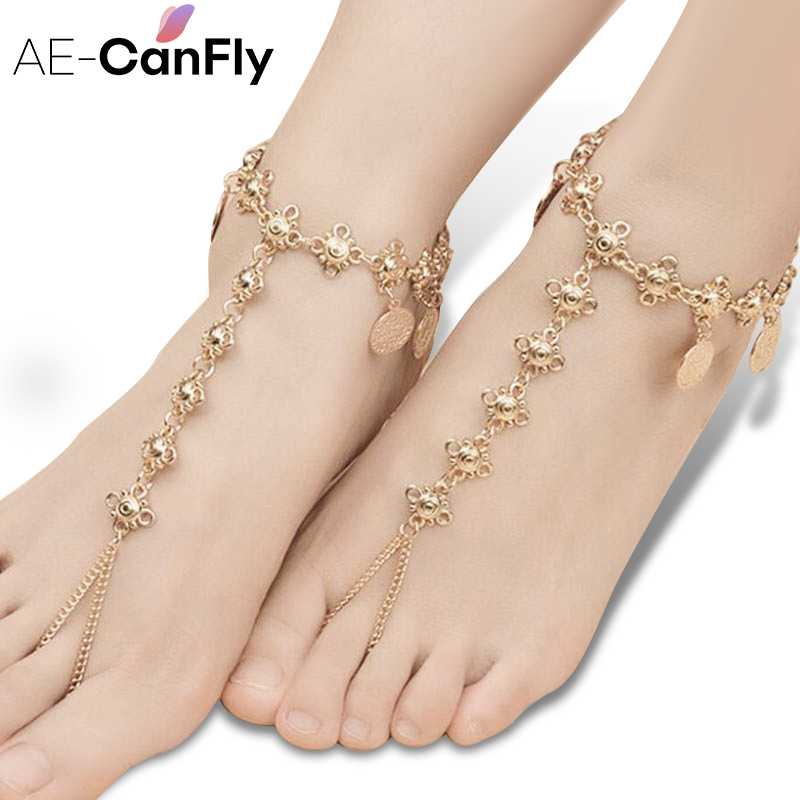 National Style Personality Coin Tassel Ankle Chain For Women Sandals Mujer Pendant Anklet Bracelet Foot Jewelry AL004