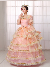 100%real light pink ruffled lace flower court medieval dress princess Renaissance Gown queen Victoria/ball gown/Belle