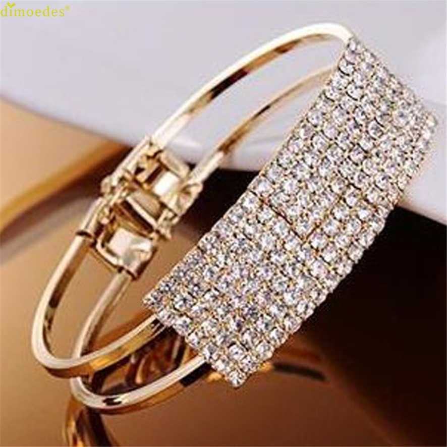 HOT Marca de Moda Senhora Elegante Presente Bangle Pulseira Pulseira de Cristal Bling Do Manguito 11.22