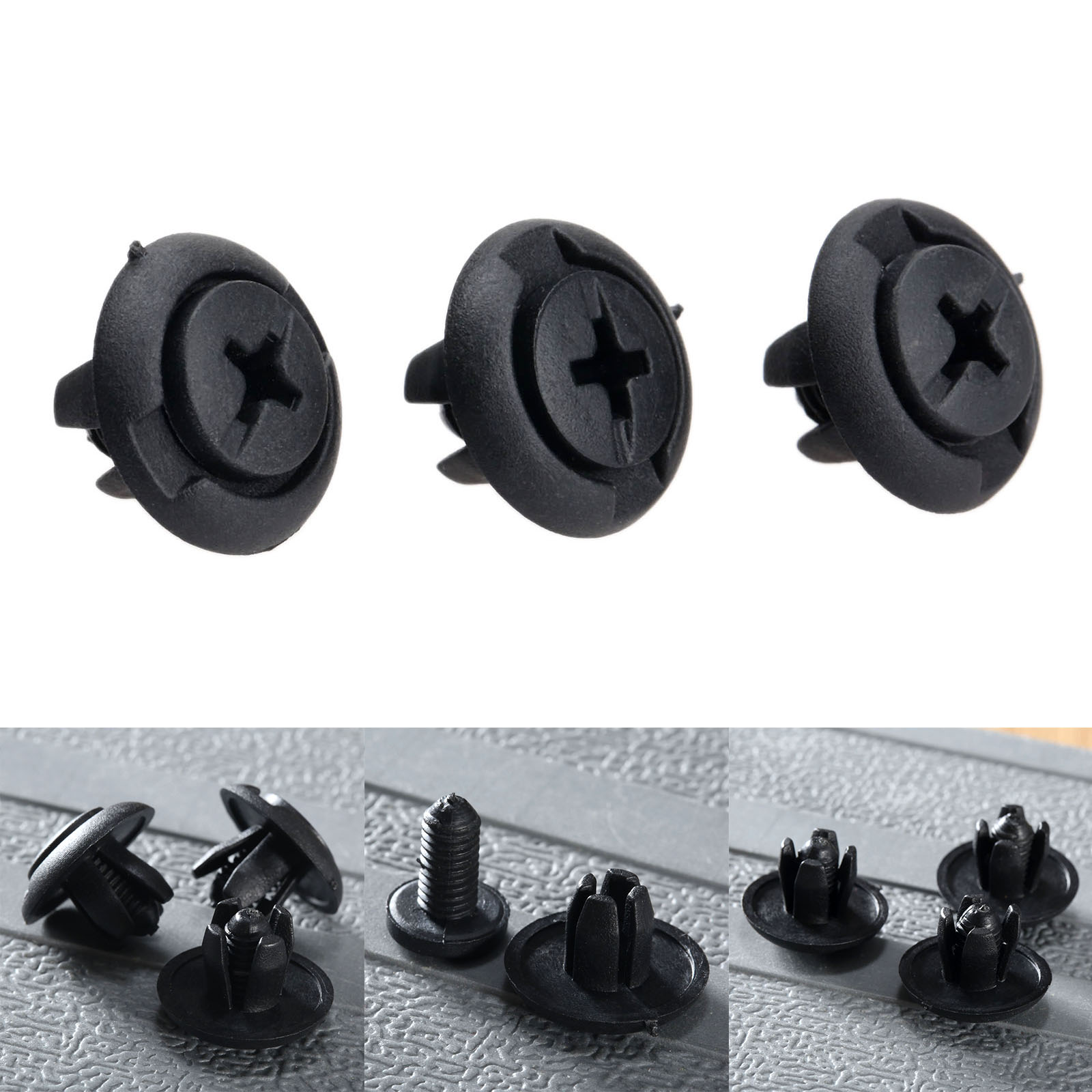 50x AUDI 8 mm Parachoques /& Protección Contra Salpicaduras Plástico Remache Cuerpo Panel Retención Recortar Clips