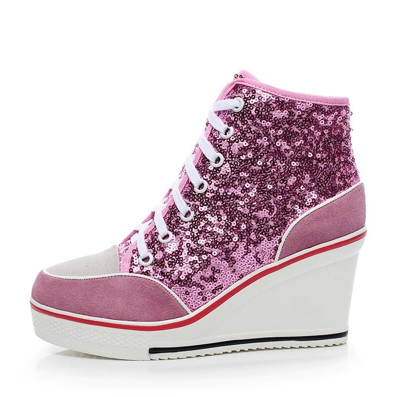 Sepatu Platform Wanita Kulit Asli 2016 Bernapas Lace up 8cm Wedges - Sepatu Wanita - Foto 2