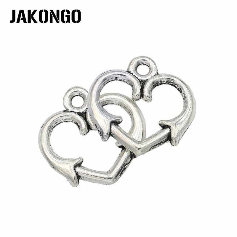 JAKONGO Antigo de Prata Banhado A Seta Coração Pingente Encanto para Fazer Pulseiras Apreciação Jóias Acessórios Artesanato DIY 22x17mm