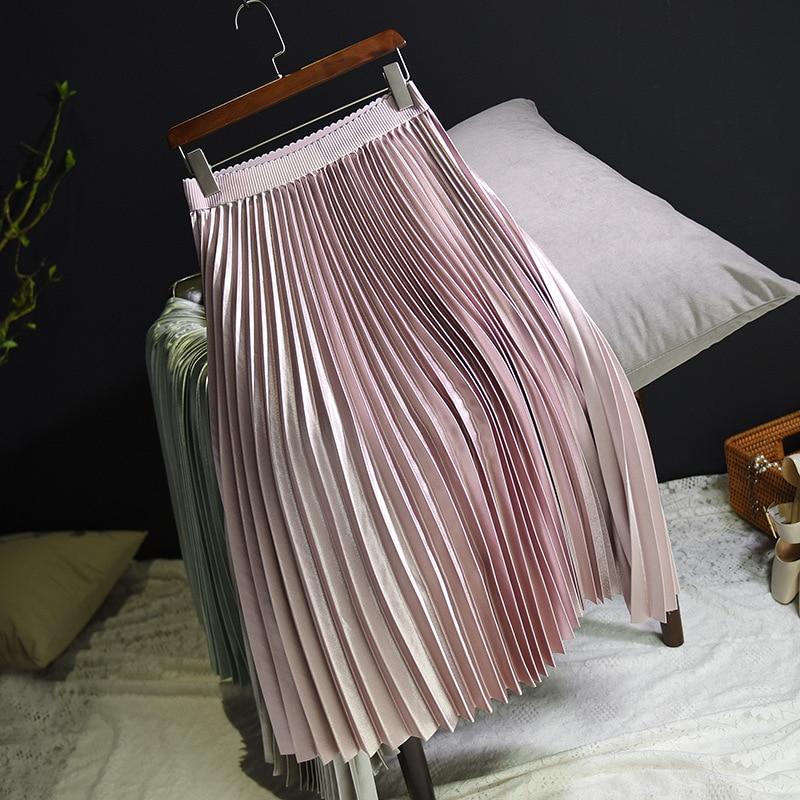 Sherhure 2018 Spring Women Long Skirts Fashion Brand A-Line Women Pleated Skirts High Waist Women Midi Skirt Faldas Mujer Saias 13