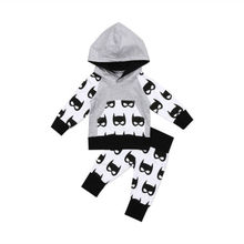 Autumn Casual Newborn Kids Toddler Baby Boy Long Sleeve Hooded Tops +Patchwork Pants Outfit Set Clothes