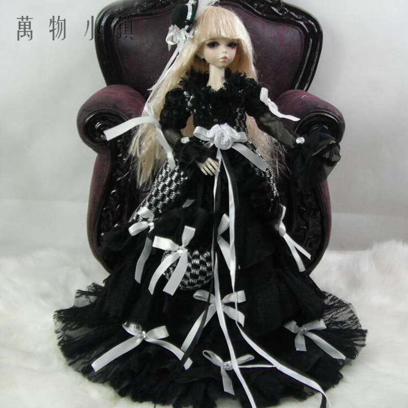 Accept custom NEW White Lace with Royal Polka Dress Doll Skirts 1/3 1/4 Big girl SD MSD BJD Doll Clothes accept custom european style black leather suit bjd uncle 1 3 sd ssdf doll clothes