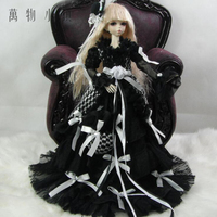 Accept custom NEW White Lace with Royal Polka Dress Doll Skirts 1/3 1/4 Big girl SD MSD BJD Doll Clothes
