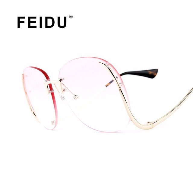 66b4cb5c494 FEIDU Sunglasses Women Brand Design Vintage Oversize Metal Frame Tint Lens  Sun glasses For Women Eyewear