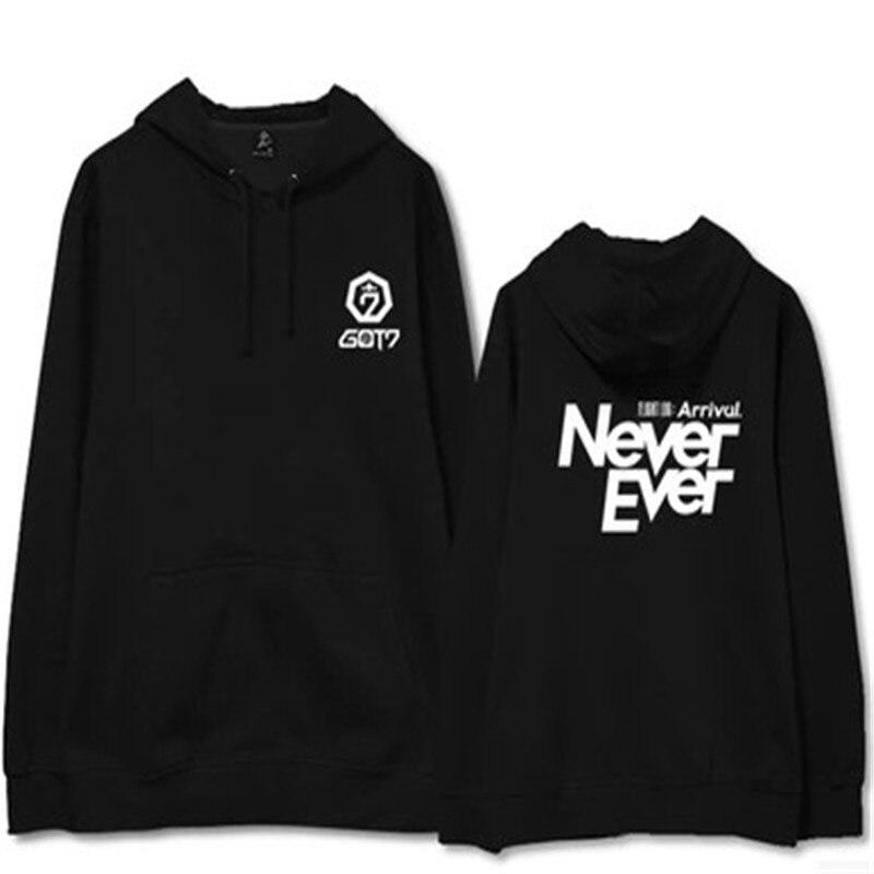 kpop home New GOT7 Never Ever The Same Couple Sweatershirt Long sleeve Harajuku hoody Student hoodies Splicing style