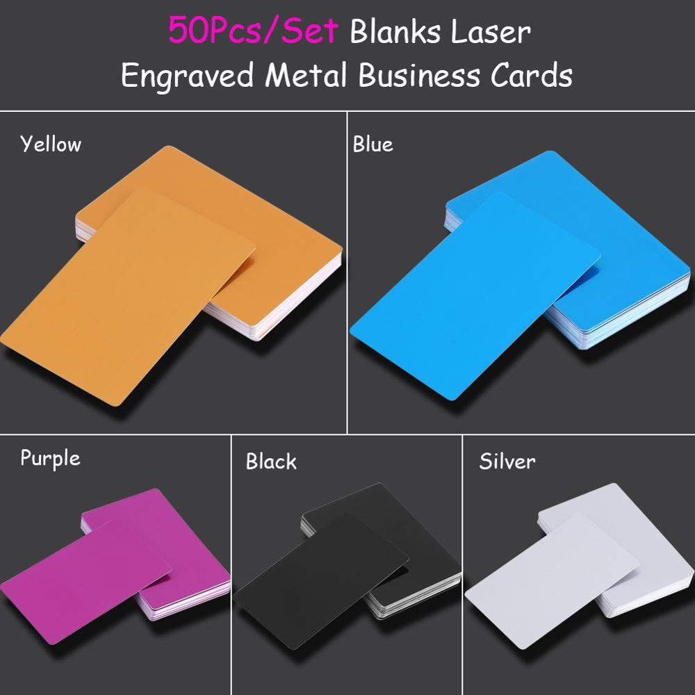 50Pcs Colorful Laser Mark Engraved Business Cards Blank Smooth Business Visiting Name Cards Aluminium Alloy Business Card 5Color