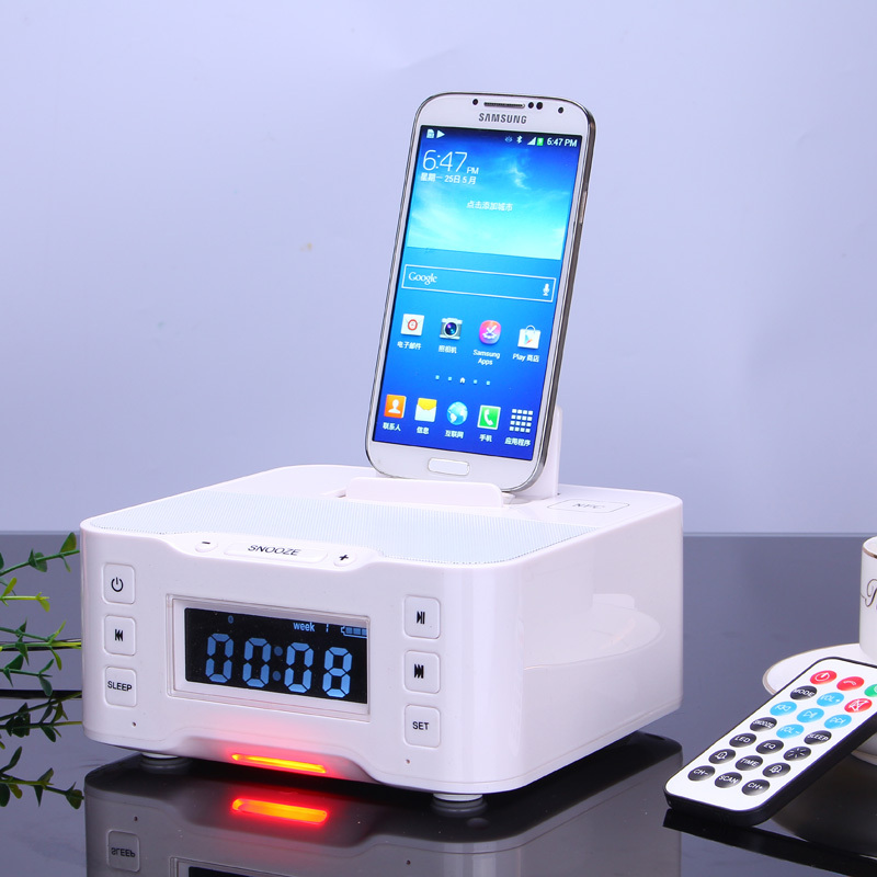 the latest 3b6bf 81054 US $76.15 7% OFF 2019 NFC Bluetooth Speaker charging Docking Station for  iPhone and Android With FM Radio Alarm Clock-in Portable Speakers from ...
