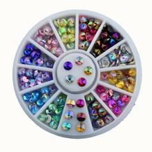 цена на 12 Color 3D Nail Art Tips Gems Crystal Nail Glitter Rhinestone DIY Nail Decoration Wheel Free Shipping