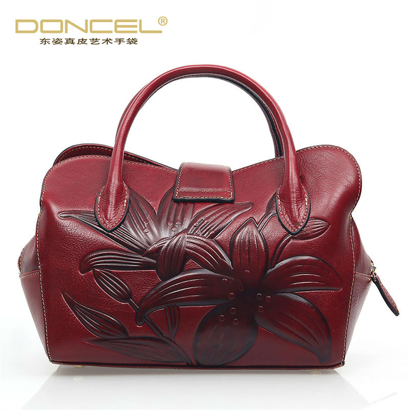 New designer handbags high quality shoulder bags for women chinese style flower bag real cow genuine leather floral hobos bag genuine real cow leather female handbags women shoulder bags purple lady small tote bag red logo designer patent bag 2017 new