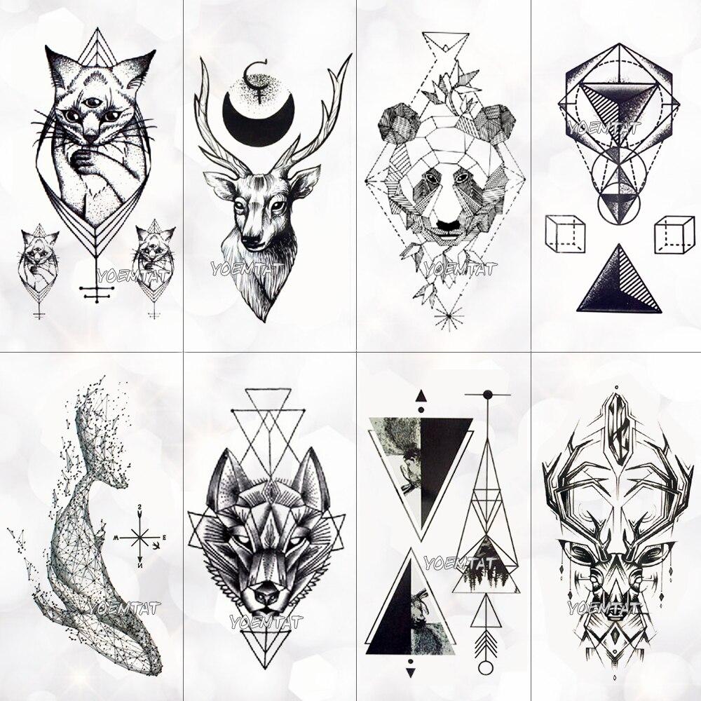 Czarny Geometryczny Wieloryb Tymczasowy Tatuaż Księżyc Róża Tatuaż Naklejki Kobiety Partia Ręka Ramię Sztuka Fałszywy Tatuaż Liść