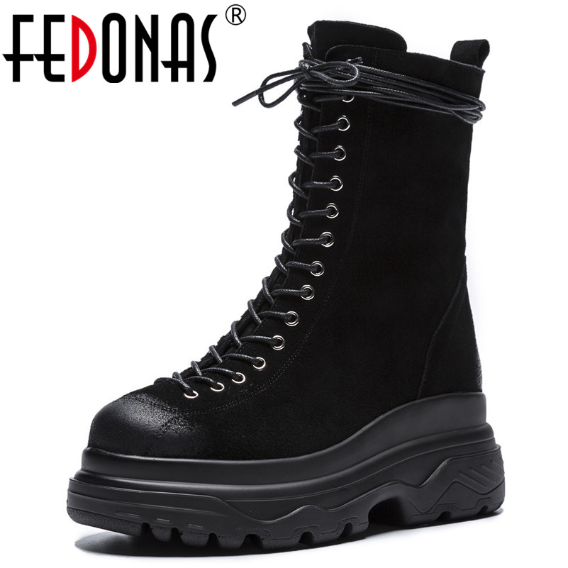 FEDONAS Women Mid-calf Boots Platforms Cow Suede Motorcycle Boots Ladies Autumn Winter Martin Shoes Woman Round Toe Casual Shoes