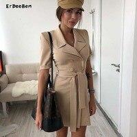 ERDAOBEN Fashion Blac Long Sleeve Sexy Jacket Solid Club Party Dress Outfit Casual Formal Midi Elegant Dress BH5923