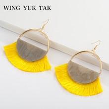 wing yuk tak Candy Colors Bohemian Tassel Earrings for Women Vintage Round Statement Big Hot Sales Jewelry Female 2019
