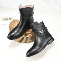 Classic Fashion Metal Lock Winter Women Ankle Boots Genuine Leather Ladies Short Flats heel Buckled Brand Shoes zapatos mujer