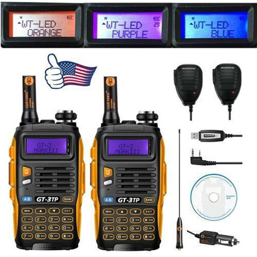 2 pcs Baofeng GT-3TP MarkIII VHF/UHF De Puissance Tri Double Bande Jambon Longue gamme Talkie Walkie à Deux voies Radio avec 2x Haut-Parleur 1x Câble FM