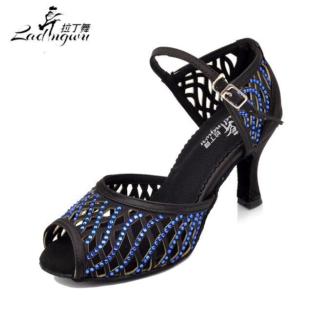 Ladingwu 2018 New Cut-Outs Design Latin Dance Shoes Women Black/brown Satin Salsa Dance Sandals Rhinestone women's heels shoes