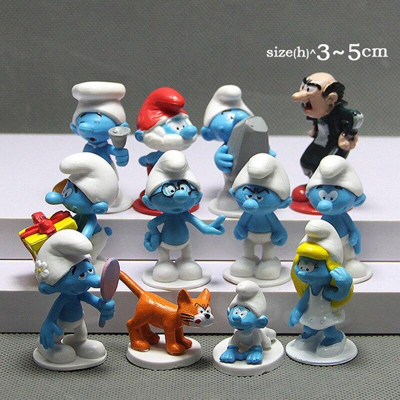 12 pcs/lot Le Elfes Papa Schtroumpfette Clumsy Chiffres Elfes Papa Action Figure Jouets D'anniversaire modèle jouets pour enfants cadeau