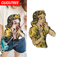 GUGUTREE embroidery Sequins big snow patches belle patches badges applique patches for clothing ZM-58 embroidery sequined belle patches for jackets glasses girls badges applique patches for clothing a640