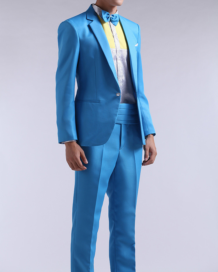 2015 New Arrival Men Pink Light Blue Suit Fashion Single Button ...