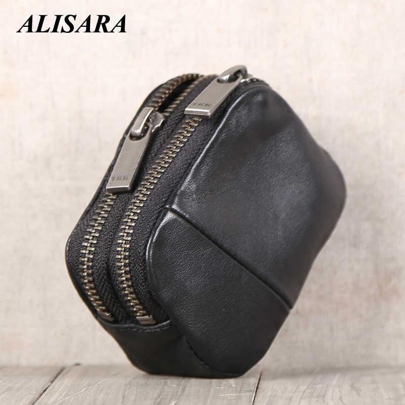 Alisara ダブルジッパーコイン財布本革ミニコインポーチ 100% 牛革メンズ · レディーススモール財布カードホルダーバッグ黒