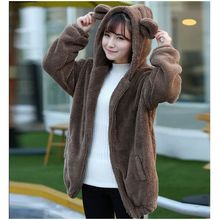 Новый Для женщин толстовки на молнии для девочек 2017 зимние свободные пушистый медведь уха с капюшоном куртка с капюшоном теплая верхняя одежда пальто милый толстовка W13
