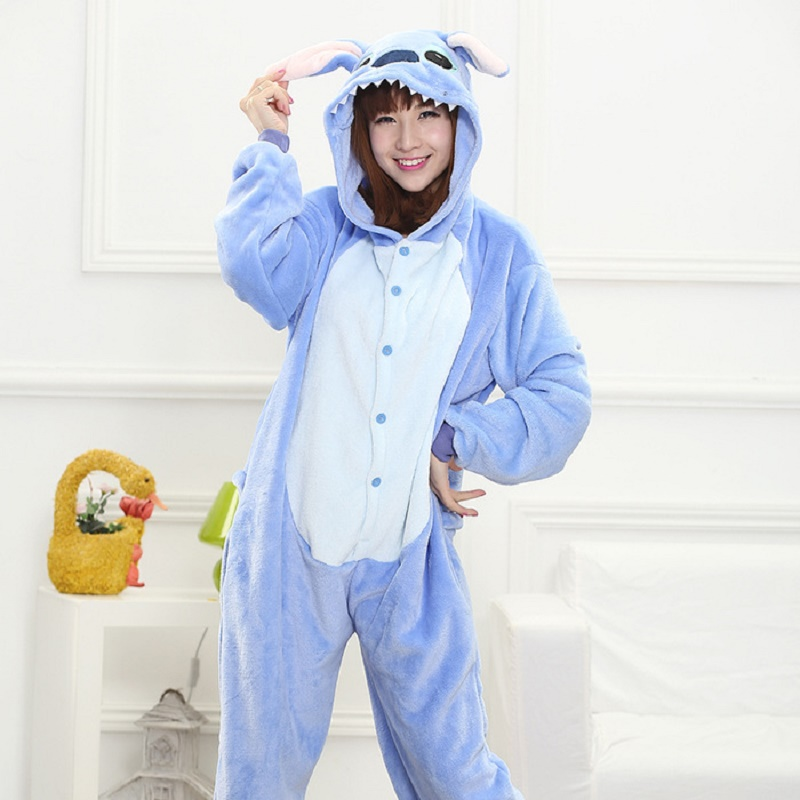 AFEENYRK Winter Flannel Pajama Warm hooded Jumpsuits Women men Homewear Onesies stitch C ...