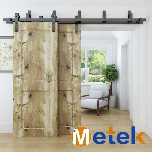 4.9FT/6FT/6.6FT Carbon steel bypass barn wood sliding door system 4 9ft 6ft 6 6ft carbon steel bypass barn wood sliding door system