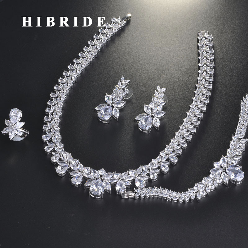 HIBRIDE Luxury Brilliant Cubic Zircon Bridal Jewelry Set For Women Wedding Accessories Fashion Design Jewelry Wholesale N-713