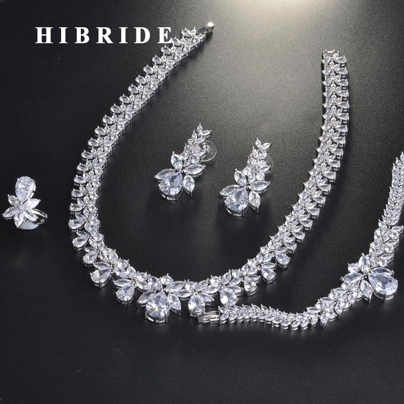 HIBRIDE luxe brillant cubique Zircon bijoux de mariée ensemble pour les femmes accessoires de mariage conception de mode bijoux en gros N 713-in Parures de bijoux from Bijoux et Accessoires    1