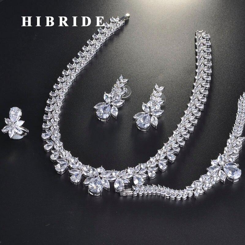 HIBRIDE الفاخرة رائعة مكعب الزركون الزفاف طقم مجوهرات للنساء الزفاف اكسسوارات أزياء تصميم المجوهرات بالجملة N 713-في أطقم المجوهرات من الإكسسوارات والجواهر على  مجموعة 1