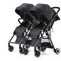 Alta Paisagem Carrinho de Bebê Gêmeo Destacável Leve Espreguiçadeira Disponível Duplo Carrinho De Criança Do Guarda-chuva Do Bebê