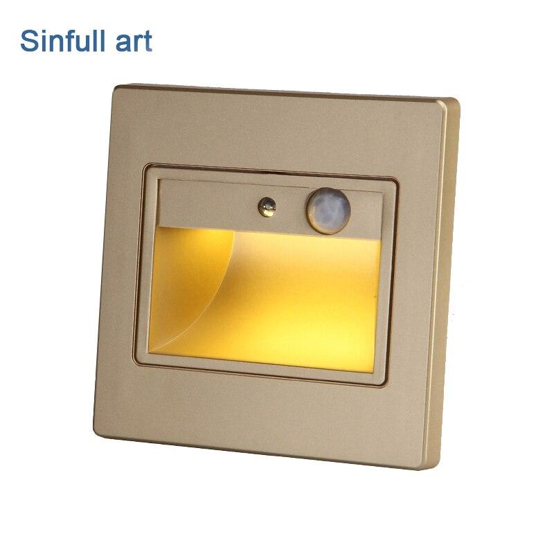 1.5 Вт pir детектор движения led лестницы встраиваемые свет Сенсор инфракрасный человеческого индукции шаг лампа лестница настенные светильни...