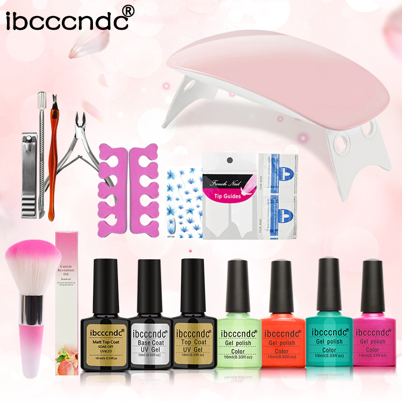 New Arrival Manicure Set 4 Color 10ml soak off Gel base gel top coat polish Nail Art Tools Sets Kits with 6W Mini LED Lamp nail art manicure tools set uv lamp 10 bottle soak off gel nail base gel top coat polish nail art manicure sets