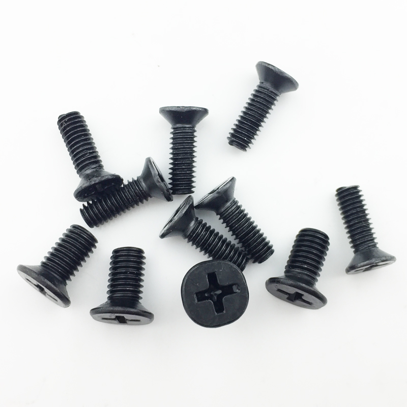 цена 200 pcs one lot Flat head screws carbon steel screws M2 M2.5 M3 M3*4 M3*5 M3*6 screws black Nickel plated KM screws