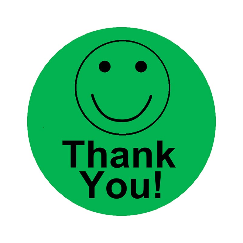 Smart Round Labels Thank You Smiley Face  Stickers 2