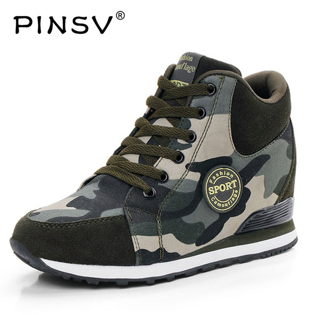 5f6e1bb0b75 PINSV Running Shoes Women Hidden Heels Sneaker High Heel Sport Shoes  Sneakers Running Shoes For Women Wedge Heels Krasovki