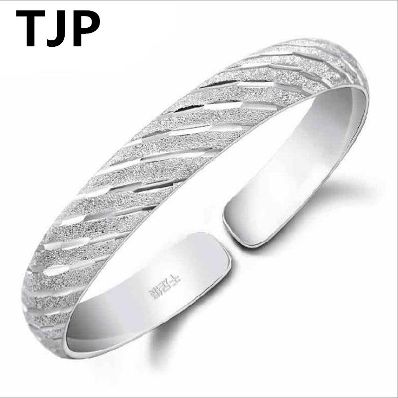 TJP Trendy Meteor Shower Design Lovers Bangles Jewelry Pure Silver Bracelets For Women Girl Engagement Party Love Story Bangle